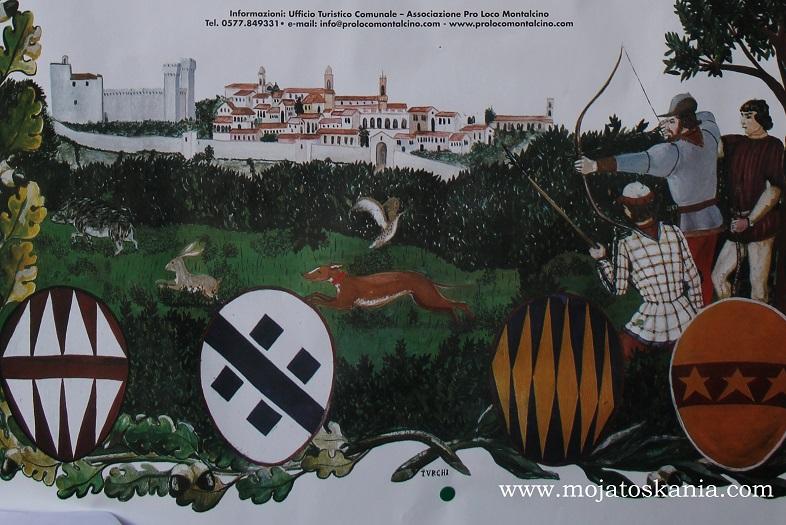 Plakat informacyjny o uroczystości Sagra Del Tordo odbywającej się w dniach 24-25.10.2015 w Montalcino